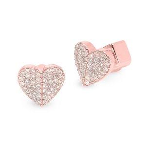 BNWT Kate Spade Heart Pave Crystal Stud Earrings